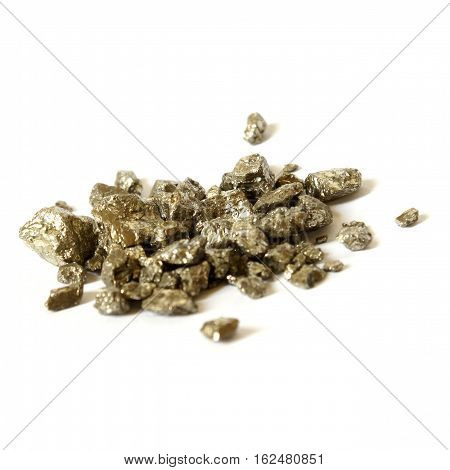 An isolated pile of one troy ounce weighed gold nuggets.