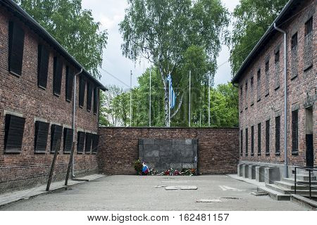 Block 10 execution wall at concentration camp Auschwitz Birkenau KZ Poland