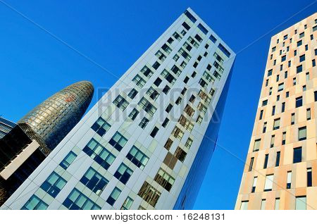 BARCELONA, SPAIN - JANUARY 22: Torre Agbar and Technological District on January 22, 2011 in Barcelona, Spain. This 38-storey tower was designed by the famous architect Jean Nouvel.