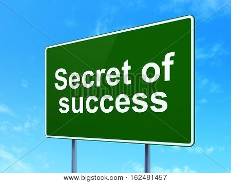 Business concept: Secret of Success on green road highway sign, clear blue sky background, 3D rendering