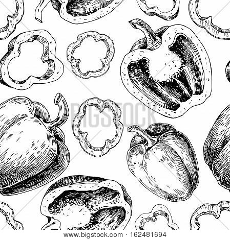 Pepper hand drawn vector seamless pattern. Vegetable engraved style object, full, half and slices. Isolated bell pepper background. Detailed vegetarian food drawing. Paprika Farm market product.