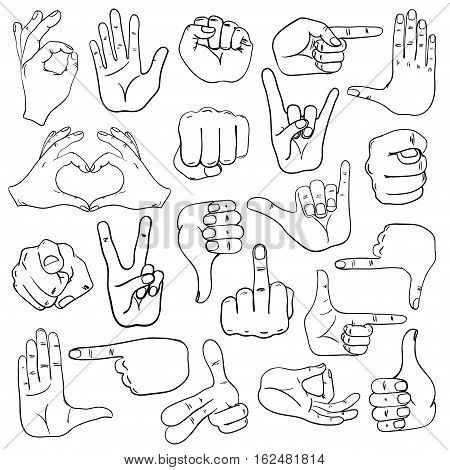Set of sketch human hands icons emoji gesture signs and signals.