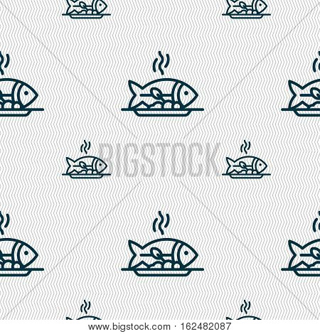 Hot Fish Grill Icon Sign. Seamless Pattern With Geometric Texture. Vector