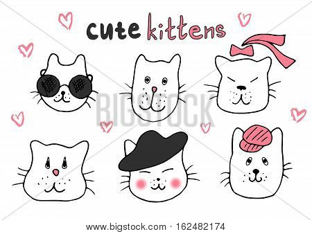 Cute cat doodle series cat avatars Cats sketch line style icons. Pets character cats handmade to print cat T-shirts. Vector illustration cats