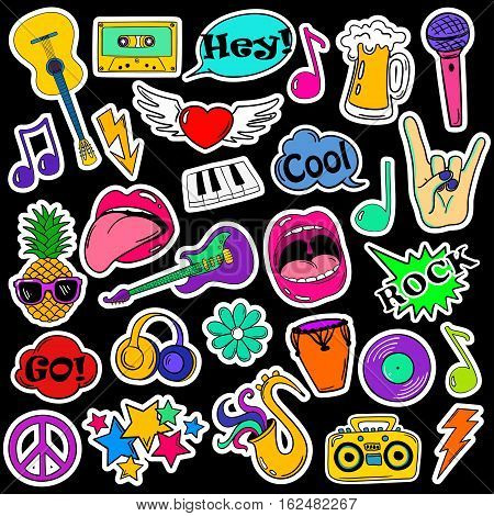 Colorful fun set of music stickers icons emoji pins or patches in cartoon 80s-90s comic style.