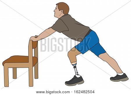 Left leg amputee using chair to stretch and warm up for exercise routine
