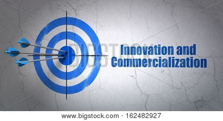Success Science concept: arrows hitting the center of target, Blue Innovation And Commercialization on wall background, 3D rendering