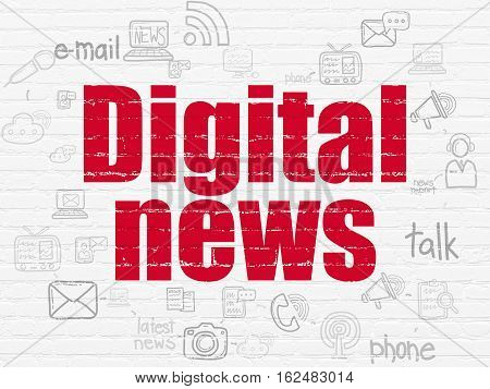 News concept: Painted red text Digital News on White Brick wall background with Scheme Of Hand Drawn News Icons
