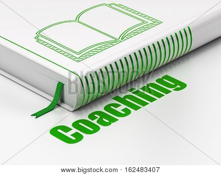 Learning concept: closed book with Green Book icon and text Coaching on floor, white background, 3D rendering