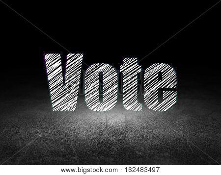 Politics concept: Glowing text Vote in grunge dark room with Dirty Floor, black background