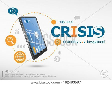 Crisis Concept And Realistic Smartphone Black Color.