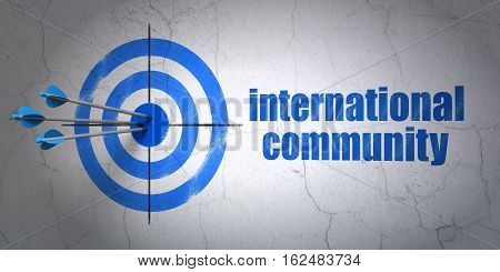 Success political concept: arrows hitting the center of target, Blue International Community on wall background, 3D rendering
