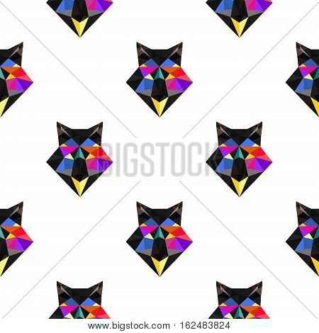 Fox polygonal seamless pattern portrait. Abstract low poly design. Vector illustration polygonal graphic geometric design. Modern creative icon wildlife triangle animal shape. Fox face origami animal.