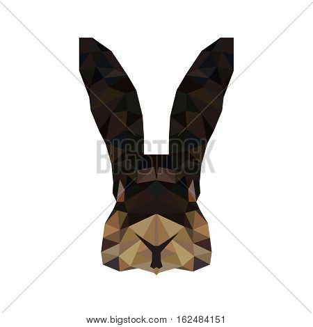 Grey rabbit portrait low poly. Abstract polygonal illustration. Fluffy decorative young character bunny design. Nature pet trendy triangle style.