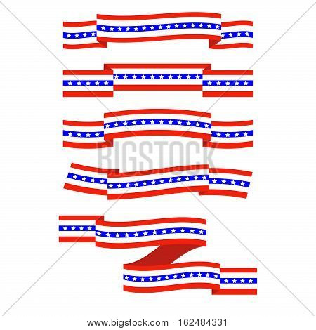American Flag Ribbon. Patriotic, support symbol. Independence and memorial Day patriotic ribbon. Red and blue celebration government liberty striped icon.