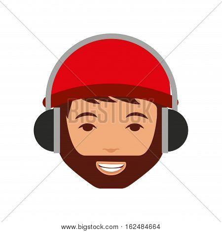 young man with headset character vector illustration design