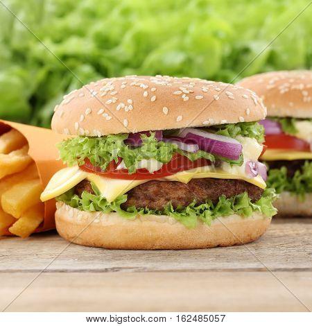 Cheeseburger Hamburger And Fries