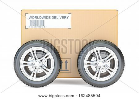 Parcel with wheels fast delivery concept. 3D rendering isolated on white background
