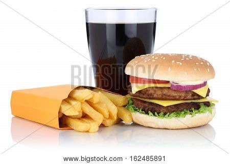 Double Cheeseburger Hamburger And Fries Menu Meal Combo Cola Drink Isolated