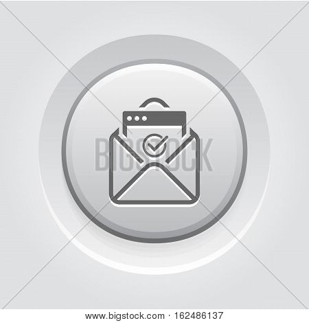 Confirmation Letter Icon. Business and Finance. Isolated Illustration. Envelope with confirmation letter. Grey Button Design.