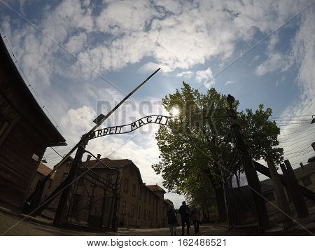 Work liberates sign at concentration camp Auschwitz Birkenau KZ Poland 6