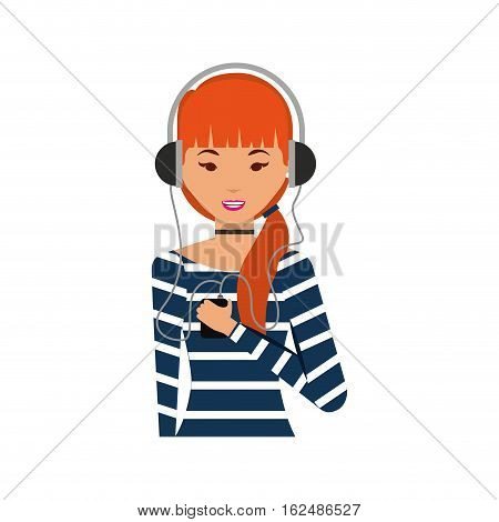 young woman with headset character vector illustration design