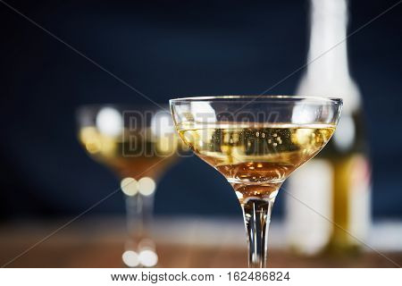 Wine Glass With Yellow Sparkling Wine