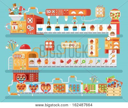 Stock vector vertical illustration of isolated conveyor for production and packaging candies, lollipops and sweets, in flat style on blue background for banner, website, printed materials, infographic