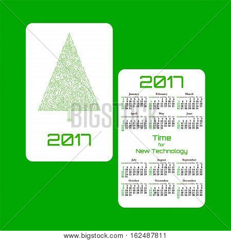Vertical pocket calendar for 2017 year. Week starts Sunday. Double-sided calendar for 2017 year. Yearly calendar template with text 2017 Christmas tree and text