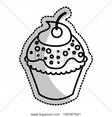 sweet and delicious cupcake icon vector illustration design