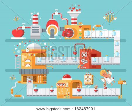 Stock vector vertical illustration of isolated conveyor to create love potion to celebrate Happy Valentines Day in flat style on blue background for banners, websites, printed materials, infographics