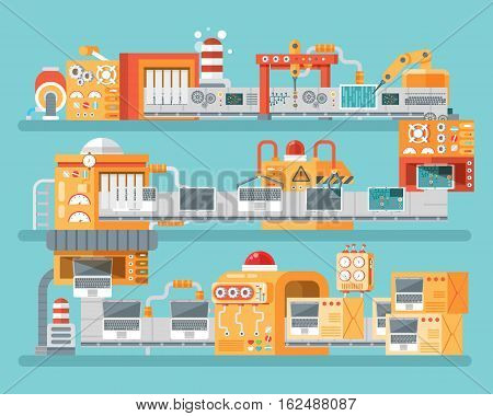 Stock vector vertical illustration of conveyor for assembly and packaging, production of personal laptops in flat style on blue background for banners, websites, printed materials, info graphics