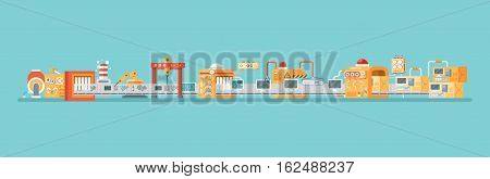 Stock vector horizontal illustration of conveyor for assembly and packaging, production of personal computers in flat style on blue background for banners, websites, printed materials, info graphics