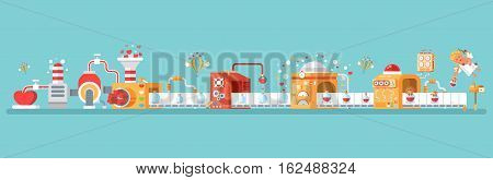 Stock vector horizontal illustration of isolated conveyor to create love potion to celebrate Happy Valentines Day in flat style on blue background for banners, websites, printed materials, infographic