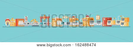 Stock vector horizontal illustration of conveyor for assembly and packaging, production of personal laptops in flat style on blue background for banners, websites, printed materials, info graphics
