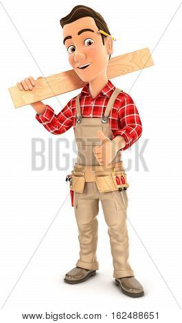 3d handyman carrying wooden plank on shoulder illustration with isolated white background