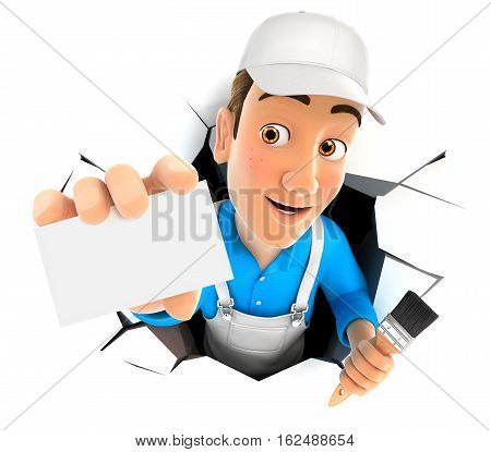 3d painter coming out through a wall with company card illustration with isolated white background