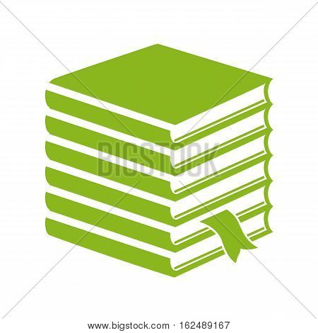 Tall stack of books vector icon illustration isolated on white background