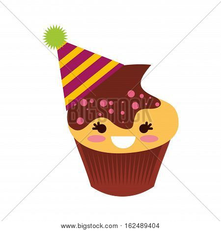delicious cupcake character kawaii vector illustration design