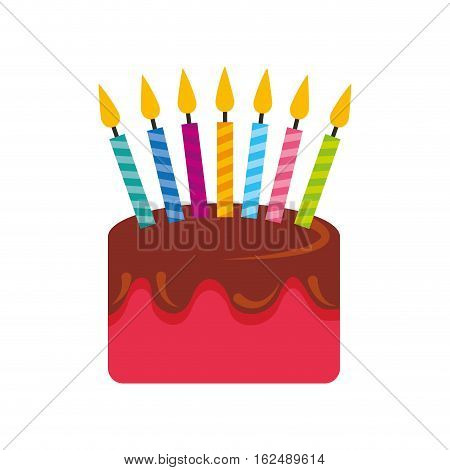 sweet and delicious birthday cake icon vector illustration design