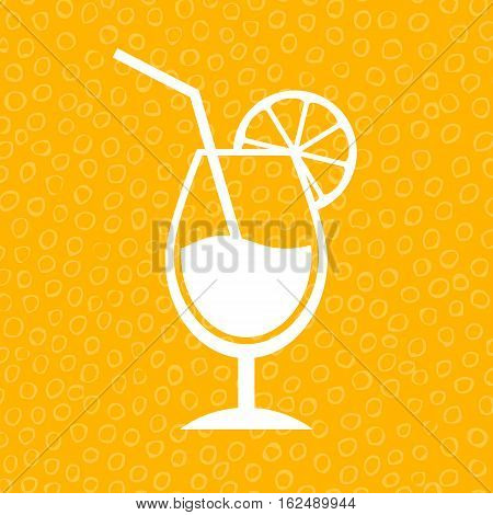 Lemon cocktail icon vector illustration isolated on yellow background
