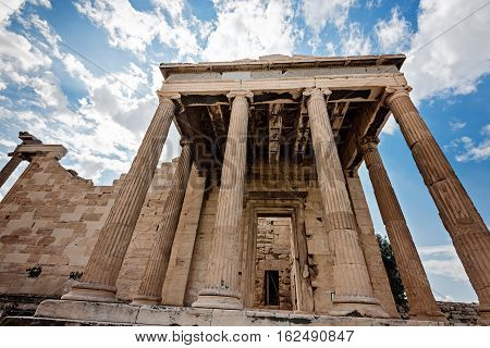 Erechtheum temple ruins on the Acropolis in Athens Greece