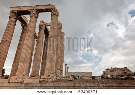 Olympian Zeus temple on the Athens with dramatic sky Greece