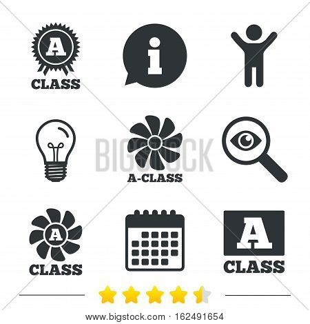 A-class award icon. A-class ventilation sign. Premium level symbols. Information, light bulb and calendar icons. Investigate magnifier. Vector