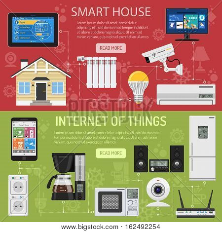Smart House and internet of things horizontal banners. smartphone and tablet controls smart home like smart plug, fridge coffee maker router microwave and smart tv flat icons. vector illustration