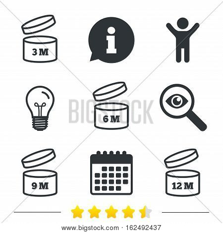 After opening use icons. Expiration date 6-12 months of product signs symbols. Shelf life of grocery item. Information, light bulb and calendar icons. Investigate magnifier. Vector