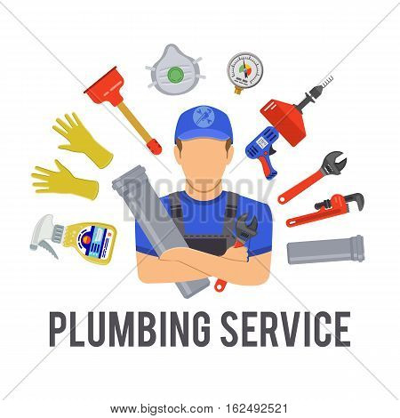 Plumbing Service Concept with Plumber, Tools and Device Flat Icons. Isolated vector illustration.