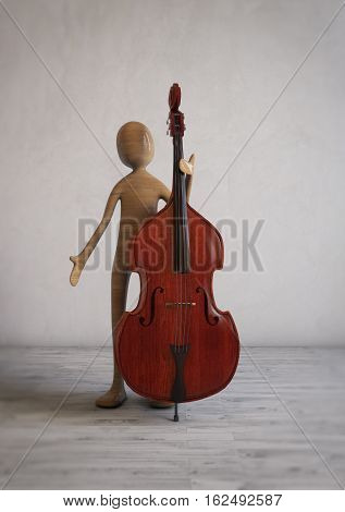 Musician with a double bass in a modern studio room. 3D illustration