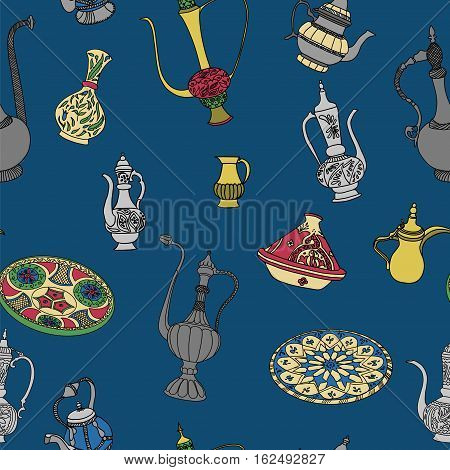 Colorful vector seamless pattern of arabic crockery. Oriental pottery dishes illustration on blue background. Moroccan crockery pattern.