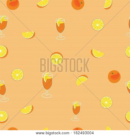 Orange with peel, glass of juice and orange silce seamless vector pattern on orange background.